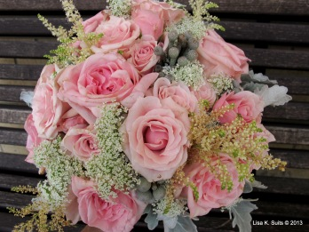bridal bouquet on bench close